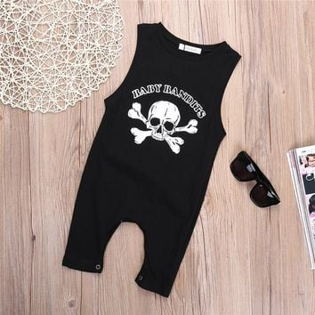 Newborn Toddler Baby Boy Girls Sleeveless Romper Jumpsuit personality Pirate Skull Costume Outfits