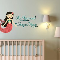 Mermaid Sleeps Here Wall Decal Nautical Mermaid Full Color Mural for Nursery Decor Colorful Vinyl Sticker SD22