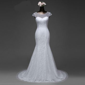 New style crystal mermaid lace flower wedding dress with short sleeve ball gown
