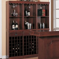 Home bar unit 3 shelf wall wine unit Louis Phillipe style cherry finish wood with wine bottle and glass storage