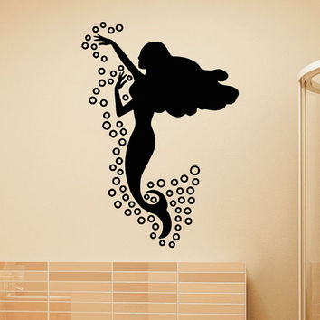 Mermaid Wall Decal- Mermaid Wall Sticker- Sea Ocean Wall Decals Vinyl Stickers Mermaid Wall Art  Bedroom Bathroom Girls Wall Decor Z820