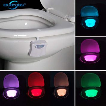 Smart Toilet Nightlight LED Body Motion Activated On/Off Seat Sensor Lamp 8 Colors
