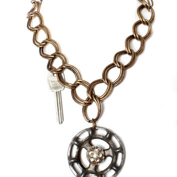 Lucy's Inspired Chunky Brass Chain with Faucet Knob & Crystal Pendant