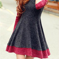 Spell Color Long-Sleeved Knit Dress BACCBI