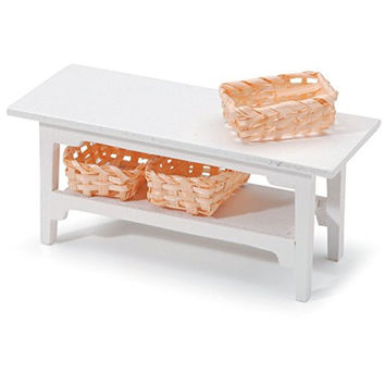 Darice Side Table with Baskets,White