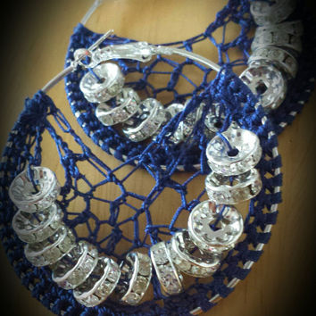 Navy Blue Crystal  Beaded Crochet Hoop Earrings -40mm