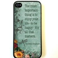 iPhone 5 Case ThinShell Case Protective iPhone 5 Case AUdrey Hepburn Quote ENjoy Life Vintage