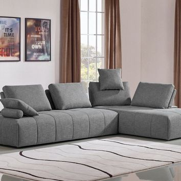 Edward Modern Grey Fabric Modular Sectional Sofa