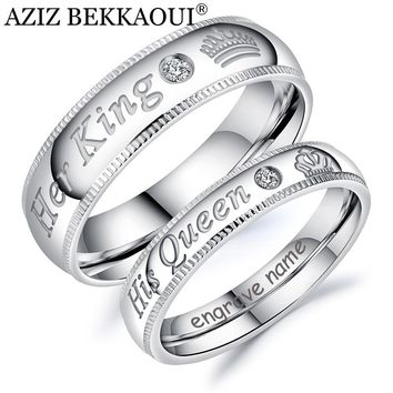 AZIZ BEKKAOUI DIY Engrave Name King & Queen Couple Rings Crown Silver Color Stainless Steel Rings Wedding Jewelry Dropshipping
