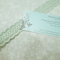 1 yard of 1 inch vintage mint green cluny like ace trim for bridal, baby, wedding, couture, costume, holiday by MarlenesAttic - Item YV