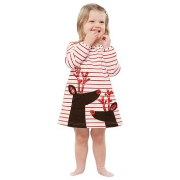 Boutique Girls Rudolph Reindeer Striped Christmas Dress