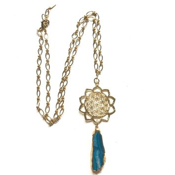 Chrysocolla Flower of Life Necklace
