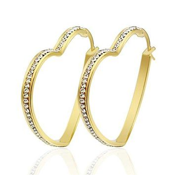 PMTIER Womens Stainless Steel Single Row Diamonds Multi Shaped Large Hoop Earings Gold Plated