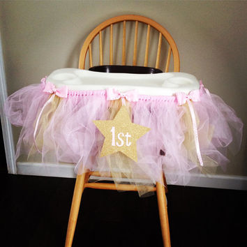 Pink and Gold Highchair Tutu for Cake Smashing
