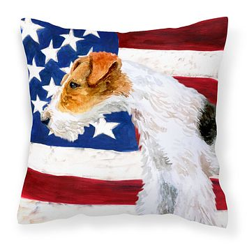 Fox Terrier Patriotic Fabric Decorative Pillow BB9650PW1818