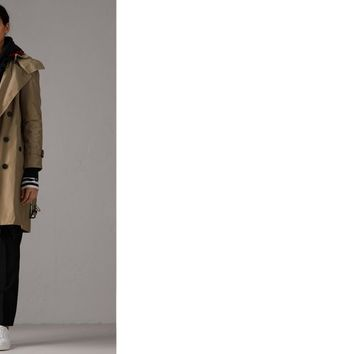 Detachable Hood Taffeta Trench Coat in Sisal - Women | Burberry