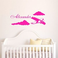 Housewares Wall Vinyl Decal Boy Nursery Room Personalized Name Airplane Clouds Home Art Decor Kids Nursery Removable Stylish Sticker Mural Unique Design for Any Room