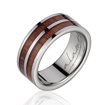Mens Titanium Wedding Band Genuine Inlay Hawaiian Koa Wood Ring - 8mm
