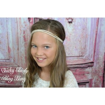 Tween Ivory and Gold Rope Headband