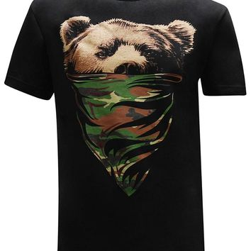 California Republic Camo Bandana Bear Men's T-Shirt Sleeve
