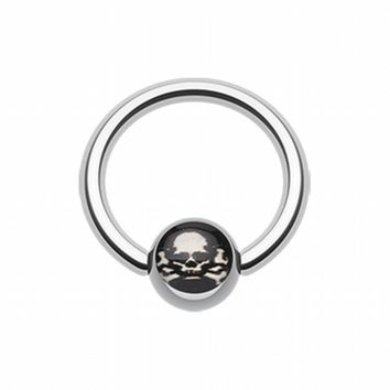 Pirate Skull Logo Ball Captive Bead Ring