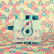 Film Mint Camera on a Colourful Retro Background  Stretched Canvas by Andrea Caroline