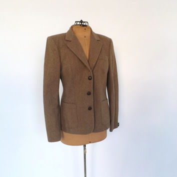 Vintage 1970s Wool Blazer Fall Fitted Jacket 1940s 50s Travel Suit Coat Cropped Small Medium Equestrian Oxford Preppy 70s Tweed Jacket