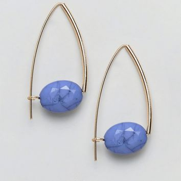 ASOS DESIGN Stone Bead Pull Through Earrings at asos.com