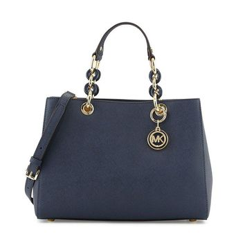 Michael Kors Cynthia Medium Saffiano Leather Satchel Navy