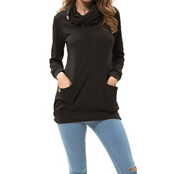 2017 Best Sale Womens Long Sleeve Button Cowl Neck Casual Slim Tunic Tops With Pockets womens tops and blouses camisa feminina