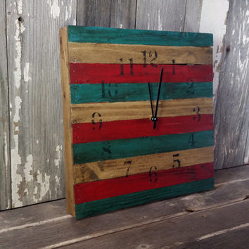 Rustic clock 14x14 americana style home decor aged rustic U.S.A. bedroom wall birthday christmas gift american flag