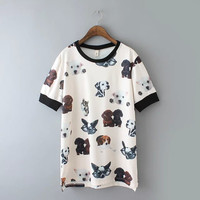 White Dog Printed T-Shirt
