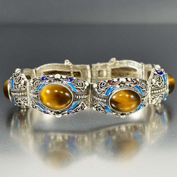 Vintage Chinese Silver and Enamel Tiger Eye Bracelet