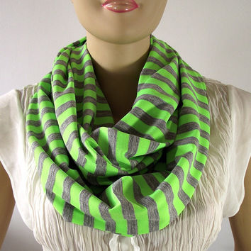 Mint Green and Gray Stripes Infinity Scarf...Upcycle Cotton Jersey...Circle Scarf...Tube Loop Scarf...Nomad Cowl