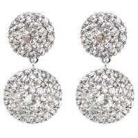 STATEMENT Glistening Double Drop Chandelier Clip On Earrings