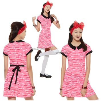 "Licensed cool NEW ""BLOSSOM"" POWERPUFF GIRLS Pink Geometric Print Dress HOT TOPIC EXC. JRS."