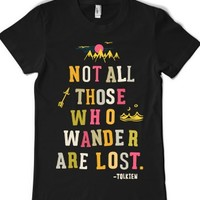 Not All Those Who Wander Are Lost (Junior Fitted)-Black T-Shirt