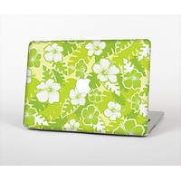 The Green Hawaiian Floral Pattern V4 Skin Set for the Apple MacBook Air 13""