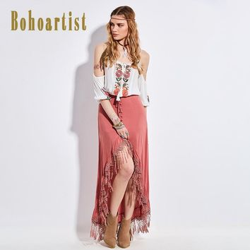 Bohoartist Ladies Long Skirts Solid Pink Lace Up Tassel Front Short Back Sexy Long Skirt 2017 Sexy Summer Beach Maxi Skirts