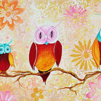 Decorative Whimsical Owl Owl Painting By Megan Duncanson Painting by Megan Duncanson - Decorative Whimsical Owl Owl Painting By Megan Duncanson Fine Art Prints and Posters for Sale