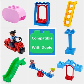 Diy Building Block Accessories Compatible With Duplo Figures Motor Seesaw Cylinder Slippery Ladder Swing Bulk Part Toys For Baby