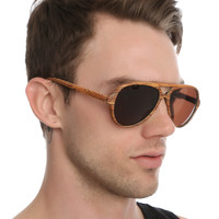 Faux Wood Aviator Sunglasses