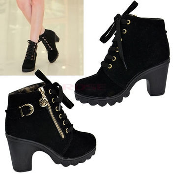 Women's Retro Buckle Heel Platform Shoes Lace Up Warm Martin Boots Pumps 2014  9124 Women's shoes = 1946417220