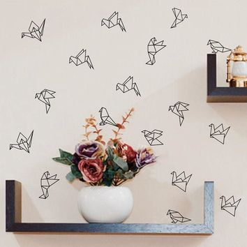 Geometric Origami Birds Wall Decals Nursery Art Decor , Geometric Flying Birds Vinyl Wall Stickers Living Room Modern Wall Decor