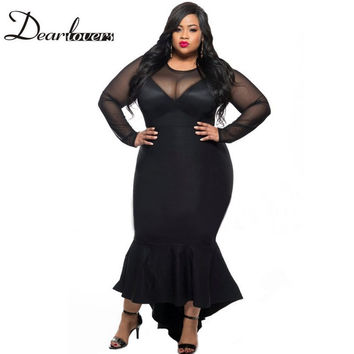 Dear lovers Plus size Women Clothing 2017 Black Red Long Sleeve Sheer Mesh Patchwork Curvy Mermaid Tail Party Dress LC61086