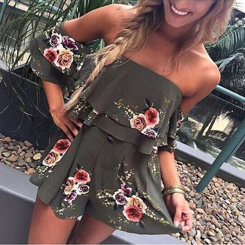 Fashion Flower Print Strapless Romper Jumpsuit