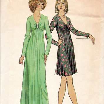 Retro 70s Party Dress Empire Waist Gown Simplicity 6024 Sewing Pattern