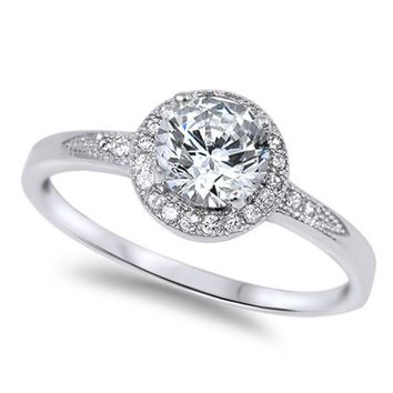 Choose Color Womens Halo Solitaire Promise Ring Rhodium Plated Sterling Silver Halo Solitaire Engagement Ring