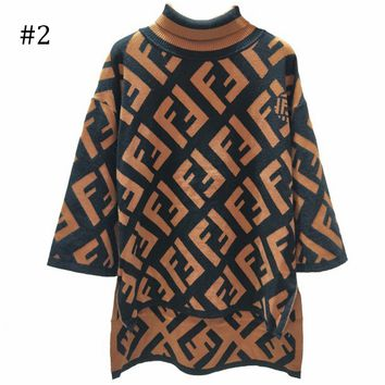 FENDI 2018 autumn and winter new high-necked seven-point trumpet sleeve sweater F0871-1 #2