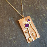 Meadow pendant with purple resin enamel